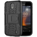 Dual Layer Rugged Tough Shockproof Case Stand for Nokia 1 - Black